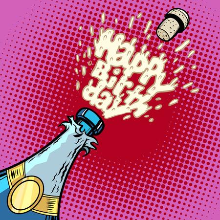 Illustration pour Happy birthday. Champagne bottle opens, foam and cork - image libre de droit