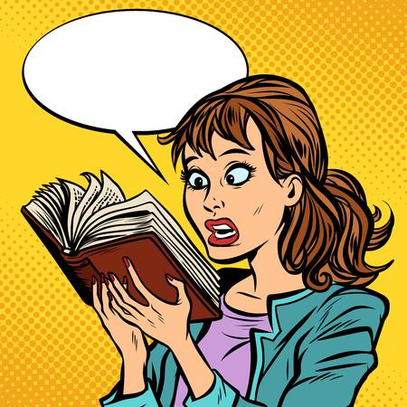 Ilustración de Shocked girl reading a book - Imagen libre de derechos