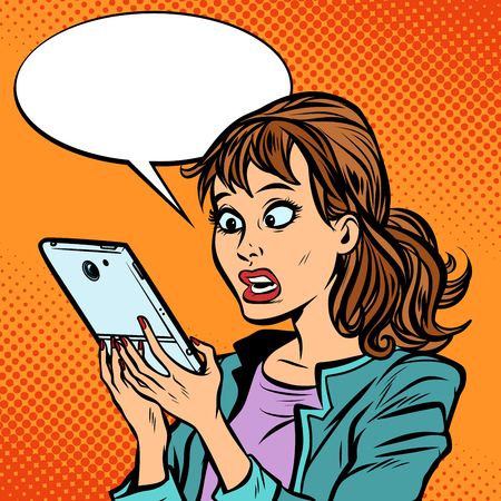 Illustrazione per Shocked woman reading a smartphone - Immagini Royalty Free