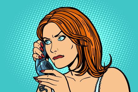 Illustrazione per serious Woman talking on the phone. Emotions. - Immagini Royalty Free