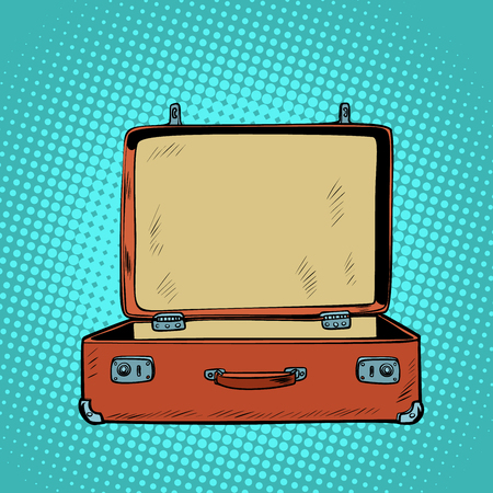 Illustration pour old open retro suitcase. Travel and tourism. Comic cartoon pop art retro vector illustration drawing - image libre de droit