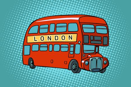 Illustration pour London double Decker bus. Comic cartoon pop art retro vector illustration drawing - image libre de droit