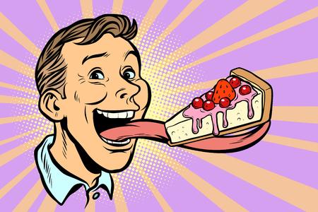 Ilustración de man with a cake in a long tongue. Comic cartoon pop art retro vector illustration - Imagen libre de derechos