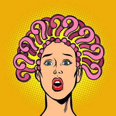 Illustration pour question mark, hair on the head, surprised woman. Comic cartoon pop art retro vector illustration - image libre de droit