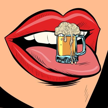 Ilustración de beer mug foam female tongue mouth. Comic cartoon pop art retro vector illustration drawing - Imagen libre de derechos