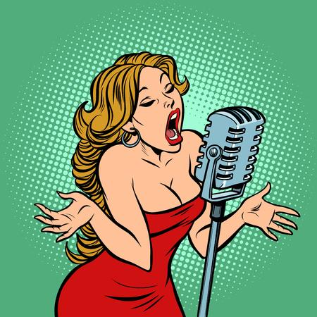 Ilustración de woman singer at the microphone. Music concert scene. Comic cartoon pop art retro vector illustration - Imagen libre de derechos