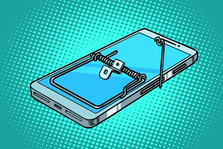 Illustration pour smartphone phone mousetrap. trap and dangers. Comic cartoon pop art retro vector illustration - image libre de droit