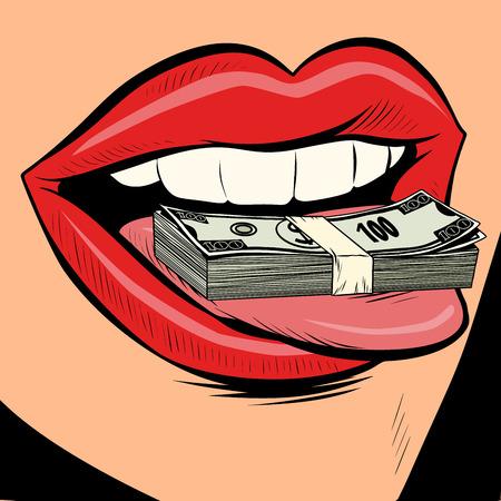 Ilustración de money dollars female tongue mouth. Comic cartoon pop art retro vector illustration drawing - Imagen libre de derechos