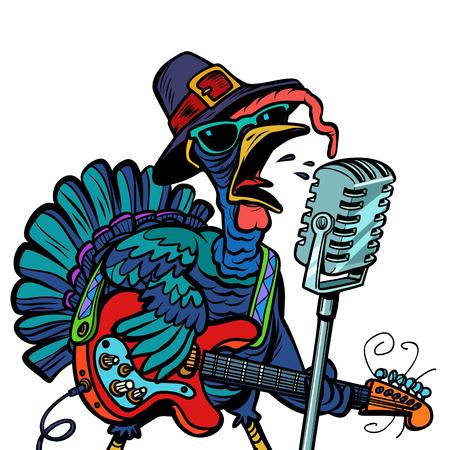 Ilustración de Thanksgiving Turkey character singer. Holiday party. Isolate on white background. Comic cartoon pop art retro vector illustration - Imagen libre de derechos
