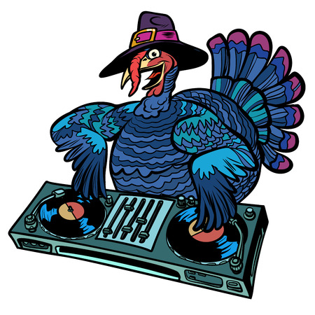 Ilustración de Thanksgiving Turkey character. DJ at the holiday party. Isolate on white background. Comic cartoon pop art retro vector illustration - Imagen libre de derechos