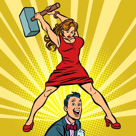 Ilustración de Woman beats a man with a hammer. Comic cartoon pop art retro vector illustration drawing - Imagen libre de derechos