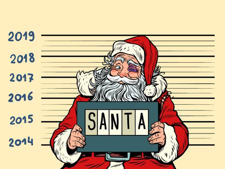 Illustrazione per Bad Santa Claus. Arrested 2019 happy new year. Comic cartoon pop art retro vector illustration drawing - Immagini Royalty Free
