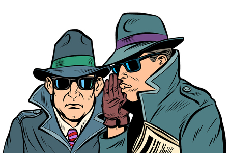 Illustration pour Two secret agents whispering. Comic cartoon pop art retro vector illustration drawing - image libre de droit
