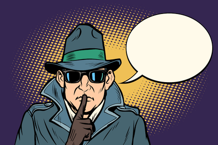 Illustration pour spy shhh gesture man silence secret. Comic cartoon pop art retro vector illustration drawing - image libre de droit