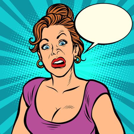 Ilustración de Pop art. Woman with a funny surprised face - Imagen libre de derechos