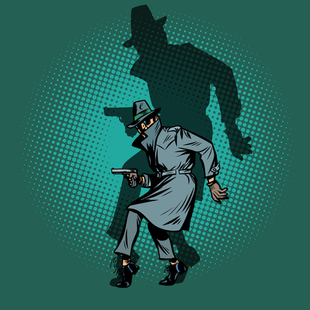 Illustration pour shadow Noir. detective spy man with gun pose - image libre de droit