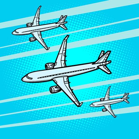 Illustration pour several passenger Airliners aircraft air transport - image libre de droit