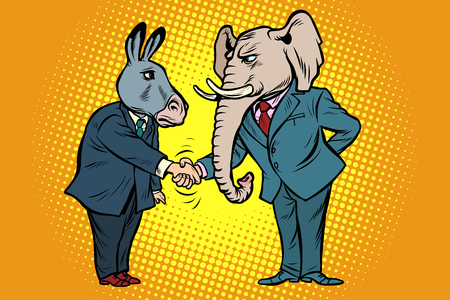 Illustration for donkey shakes elephant hand. Democrats Republicans - Royalty Free Image