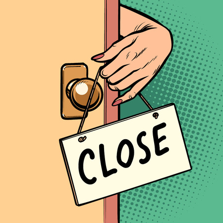 Illustration for close woman hand hangs a sign on the door - Royalty Free Image
