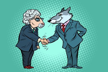 Ilustración de wolf and sheep business negotiations, friendship. Comic cartoon pop art vector retro vintage drawing - Imagen libre de derechos