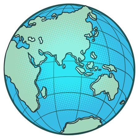 Illustration pour globe Eastern hemisphere. Africa Europe Asia Australia. Comic cartoon pop art vector retro vintage drawing - image libre de droit