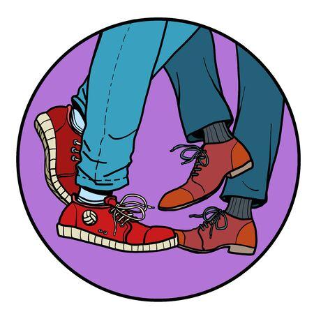 Ilustración de couple dancing at a party. Comic cartoon pop art retro vector illustration drawing - Imagen libre de derechos