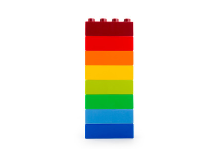Photo for A rainbow color lego blocks on white background - Royalty Free Image