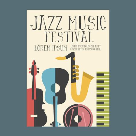 Illustration pour Jazz Music Festival Poster Advertisement with music instruments - image libre de droit