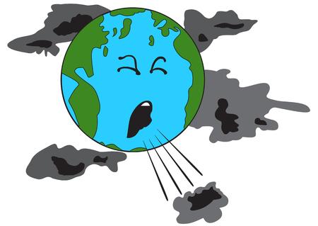 Ilustración de Illustration of a coughing planet Earth with bad clouds - Imagen libre de derechos