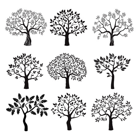 Ilustración de Set of black tree with leafs. Vector Illustration. - Imagen libre de derechos