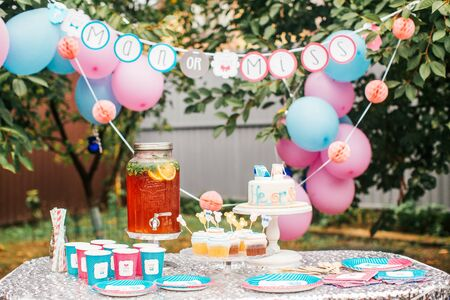Foto de Boy or girl cake and different treats for baby shower party on table outdoors - Imagen libre de derechos