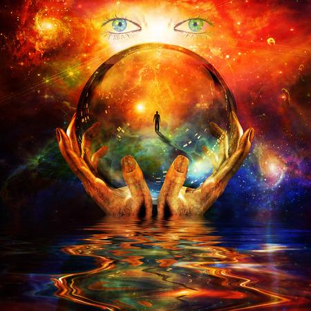 Foto de glass ball in hands with abstract background - Imagen libre de derechos