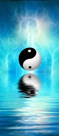 Foto de Surreal digital art. Human's silhouette with shining energy and Yin-Yang sign reflected in the water. 3D rendering. - Imagen libre de derechos