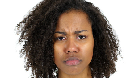 Photo pour Sad Black Woman Face, Crying isolated on White Background - image libre de droit