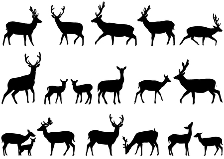 Ilustración de Collection of silhouettes of wild animals - the deer family - Imagen libre de derechos