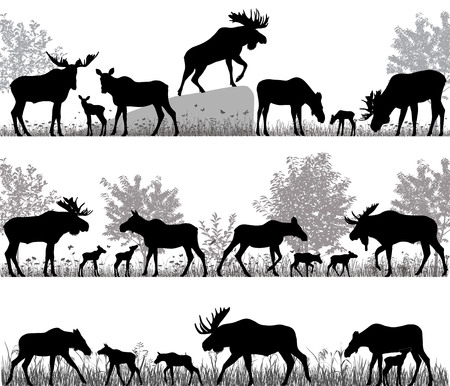 Ilustración de Silhouettes of mooses also named elks and its cubs outdoors - Imagen libre de derechos