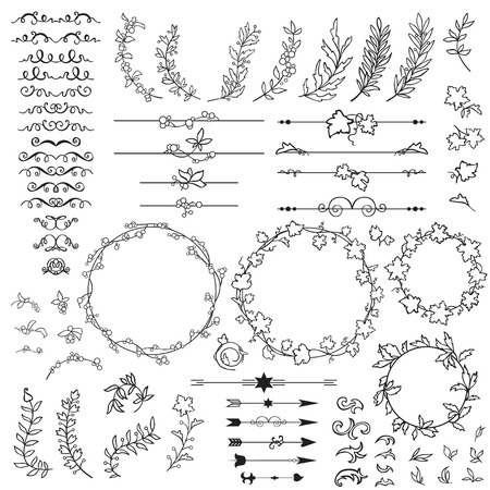 Illustration for set of elements for design hand-painted - Royalty Free Image