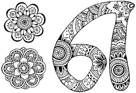 Photo pour letter A decorated in the style of mehndi - image libre de droit