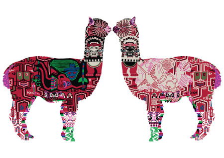 Illustration pour Alpaca with drawings in the Peruvian style. Two alpacas on a white background. - image libre de droit