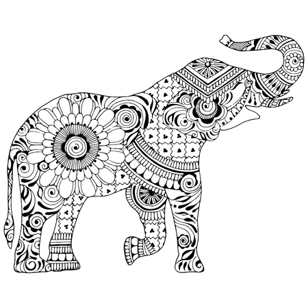Illustration pour An elephant with a trunk on a white background. Silhouette decorated with Indian patterns. Symbol of stability and invulnerability. - image libre de droit