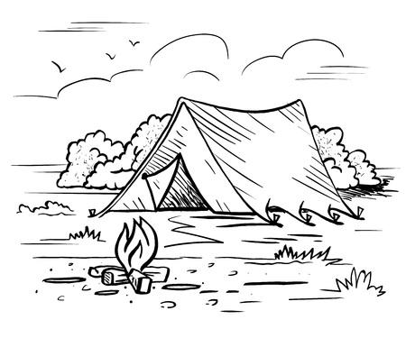 Ilustración de Hiking camping  outdoor recreation - Imagen libre de derechos