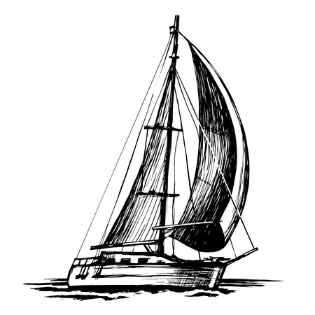 Ilustración de Sailboat vector sketch, isolated and stylized waves. A sea single-masted yacht floats on the surface of the water. - Imagen libre de derechos