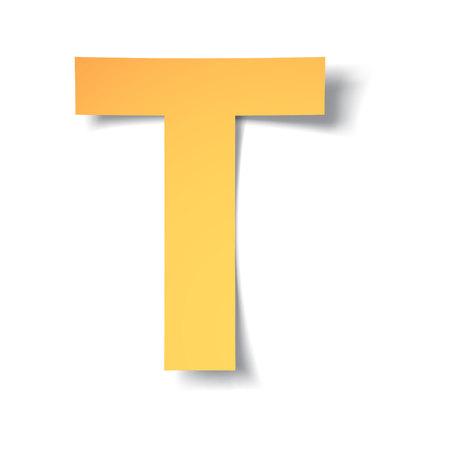 Ilustración de yellow-gold letter T carved from paper with soft shadow.Vector illustration - Imagen libre de derechos
