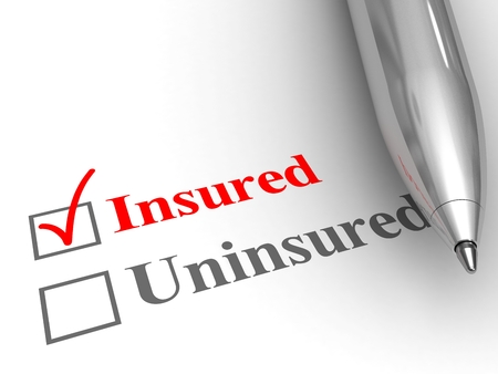 Foto de Insured status. Pen on form to answer if you are covered by an insurance policy for medical, auto, homeowner, life protection or another, with insured checked. - Imagen libre de derechos