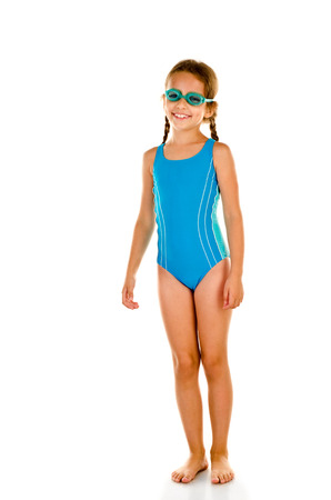 little girl in swimsuit isolated on white