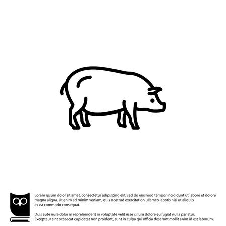 Web line icon. Pig, livestock
