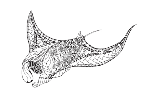 Illustration for Zentangle stylized manta ray, mobula, devil fish. Vector, illustration, freehand pencil, pattern. - Royalty Free Image