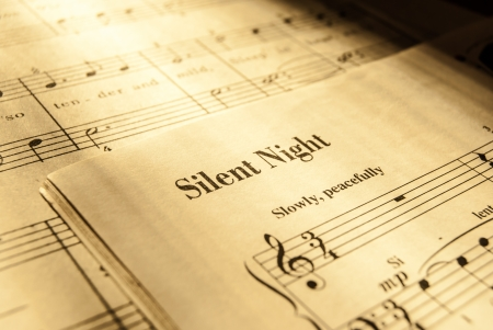 Photo pour sheet music for Silent Night, christmas song - image libre de droit
