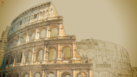Illustration for Travel background in vector format. Modern stylish painting with watercolor and pencil. Colosseum (Coliseum) in Rome, Italy. The Colosseum is an important monument of antiquity. - Royalty Free Image