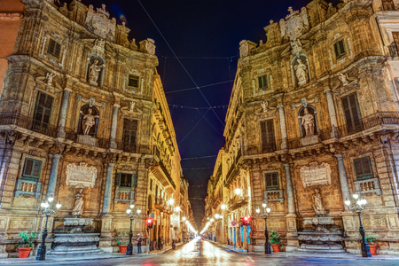 Photo for Central square Quattro Canti in Palermo, Italy. - Royalty Free Image